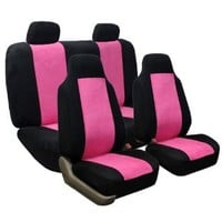 FH-FB105-1114 Classic Suede Car Seat Covers, Airbag Compatible and Split Bench Pink / Black : Amazon.com : Automotive