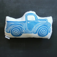 Blue Truck Pillow, Baby Boy Truck Nursery, First Birthday Decor, Baby Shower Truck Theme, Blue Truck Decor, Baby Boy Room Pillow, Country