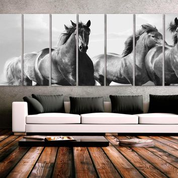 """XXLARGE 30""""x 96"""" 8 Panels Art Canvas Print beautiful Horses Wall Home Office Decor interior (Included framed 1.5"""" depth)"""