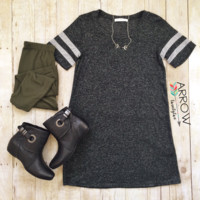 Charcoal Baseball Sleeve Shift Dress