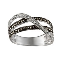Sterling Silver Marcasite & Crystal Crisscross Multiband Ring