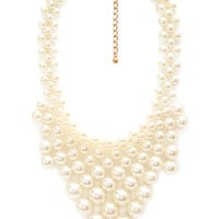 FOREVER 21 Faux Pearl Pointed Bib Necklace Cream One