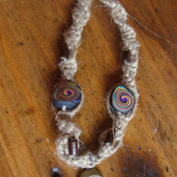 Hemp Psychedelic Colorful Mushroom Necklace by IzzaBean on Etsy