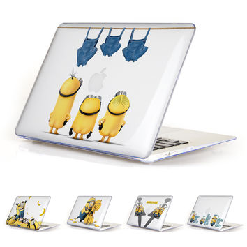 Unique Lovely Clear Cartoon Minions Cover Case for Apple MacBook Air 11 13 Pro Retina 13 15 New 12 inch Hard Protective Shell