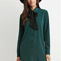 Long Sleeve Bow Tie Button Shirt Mini Dress