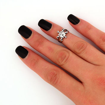 sterling silver knuckle ring Sun design above knuckle ring adjustable midi ring (T-51) Toe ring