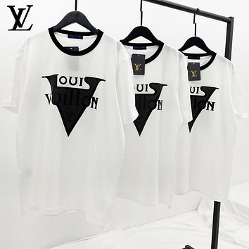 Louis Vuitton LV Summer New Men Women Casual Print Short Sleeve T-Shirt Top