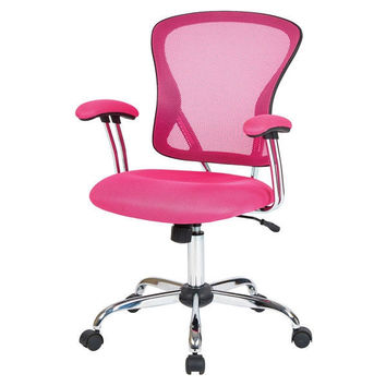 Modern Pink High Back Mesh Office Chair with Carpet Casters