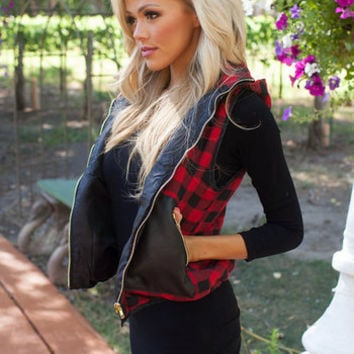 Black and Red Checkered Hooded Vest