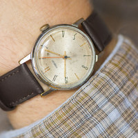 Straw shade men's watch Pobeda\Victory gents wrist watch round casual watch shabby face premium leather strap new
