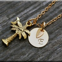 Gold Palm Tree Charm Necklace, Initial Charm Necklace, Personalized, Palm Tree Pendant, Tropical Jewelry, Palm Tree Moon Monogram Necklace