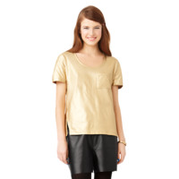 Asymmetrical Slit Tee with Foil Coating
