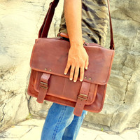 Multipurpose Office Leather Bag; Handcrafted Genuine Leather; Perfect Gift for Husband Boyfriend Father; Leather Laptop Messenger Bag;