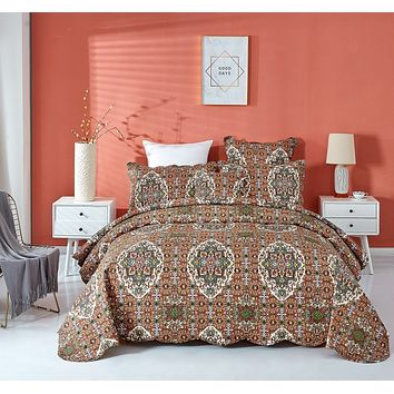 DaDa Bedding Rustic Earthy Cross Motif Folk Style Scalloped Quilted Bedspread Set (JHW-944)