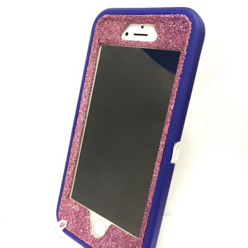 iPhone 6 (4.7 inch) OtterBox Defender Series Case Glitter Cute Sparkly Bling Defender Series Custom Case  purple / pink