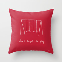 Don't forget to play - red Throw Pillow by Marc Johns