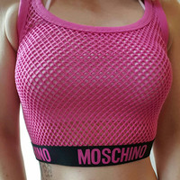 Moschino style fishnet crop top