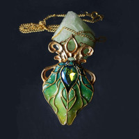 Pendant Green,  Polymer Clay Pendant, Gilding, Spring Beetle, Summer Moth, , Pendant Beetle, Insect Green, Blue Green, Green Yellow