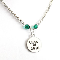 Graduation Jewelry - Class of 2016 - High School Graduation Jewelry - College Graduation Jewelry - Stainless Steel Necklace