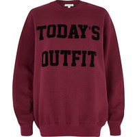 River Island Womens Red today's outfit print sweatshirt