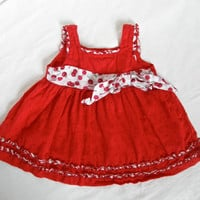 Vintage Baby Girl Dress Red Cherry Clothing 9 to 12 Month Gown Gently Used Clothes Baby Photo Props Photography