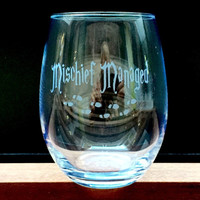 Elegant Wine Glass with Harry Potter Quotes, Mischief Managed