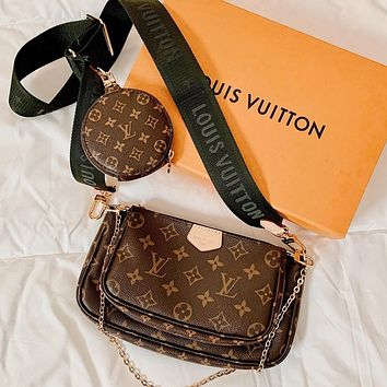 LV Louis Vuitton women's large-capacity classic presbyopia three-piece bag