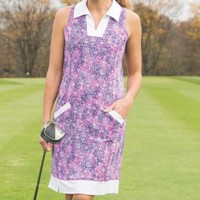 JoFit Ladies & Plus Size Wide Placket Sleeveless Golf Dresses (with undershorts) - Mimosa (Speckle P