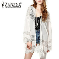 ZANZEA Summer Beach Cover-up 2016 Women Boho Kimono Cardigan Lace Crochet Chiffon Loose Outwear Vintage Blouse Tops Plus Size