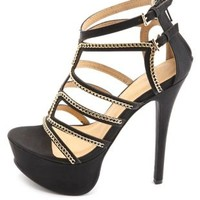 Chain-Embellished Strappy Platform Heels by Charlotte Russe