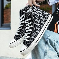 Dior New High Top Canvas Shoes Trendy All-match Student Tide Shoes Casual Cloth Shoes Boys And Girls Street Style Board Shoes