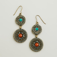 Gold, Turquoise and Orange Pave Double Drop Earrings   World Market