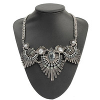 Vintage  Ancient Silver Feathers Crystal Pendant Chunky Necklace