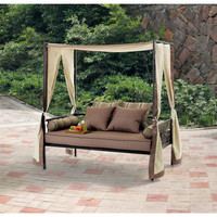 Outdoor Patio, Yard, Lawn Furniture Day Bed Lounge with Canopy, Sun Shade