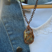 Septarian nodule necklace; wire wrapped stone; wire wrap septarian nodule; stone pendant; unusual stone necklace; neutral colors