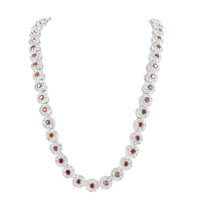 Red Solitaire Cluste rChain Flower Style Lab Diamond White Gold Finish