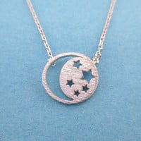 Celestial Crescent Moon and Stars Cut Out Shaped Pendant Necklace in Silver | DOTOLY
