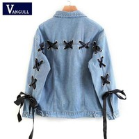 Women Fashion Lace Up Lattice Eyelets Back Denim Jacket Ladies Elegant Autumn Casual Oversized Coat capa mujer VANGULL 2018