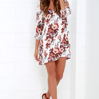 Shifting Dears Ivory Floral Print Dress