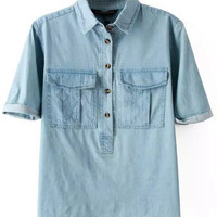 Chambray Shirt With Cuffed Sleeves