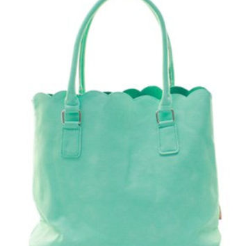 Monogrammed Scalloped Tote Purse  Marley Lilly Style