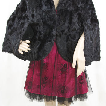 Pappas Furriers Vintage 50's Black Fur Cape