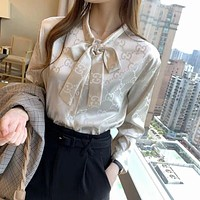 GUCCI Fashion Women Long Sleeved Lapel Shirt Top