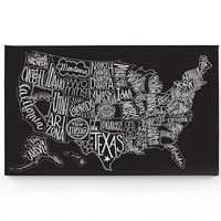 U.S. Map Wrapped Canvas