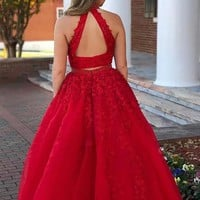Halter Applique Beading Tulle Red Two Piece Prom Dress