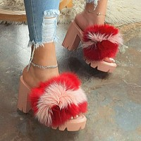 Sexy color matching high-heeled hairy slippers women plus size sandals
