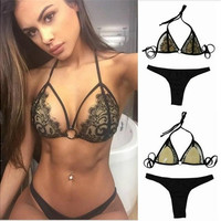 2016 Sexy Halter Black Lace Bikini Push Up micro bikinis Swimsuit cropped Swimwear Brazilian Biquini Bathing Suits [9222238788]