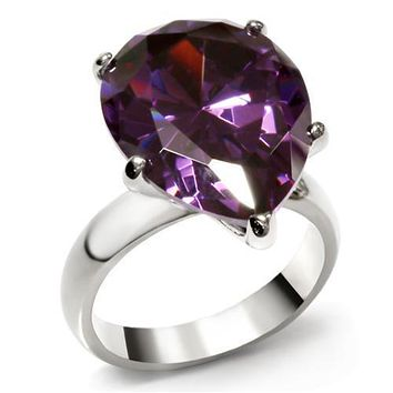 Vintage Rings TK045 Stainless Steel Ring with AAA Grade CZ in Amethyst