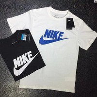 Nike classic printed pair sports short sleeves cotton knit, comfortable and breathable casual casual matching men's and women's round neck t-shirts