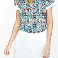 Kaleidoscope Print Crew Neck Rolled Sleeve Blouse from EXPRESS